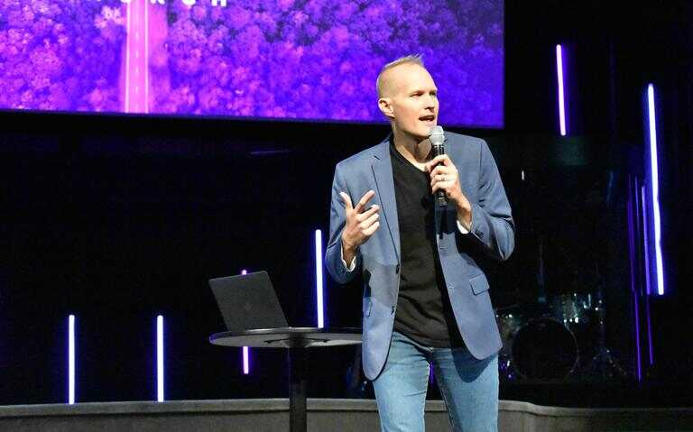 Incoming lead pastor David Leedahl speaks to the congregation at Fargo's Northview Church on Aug. 29, 2021. Special to The Forum