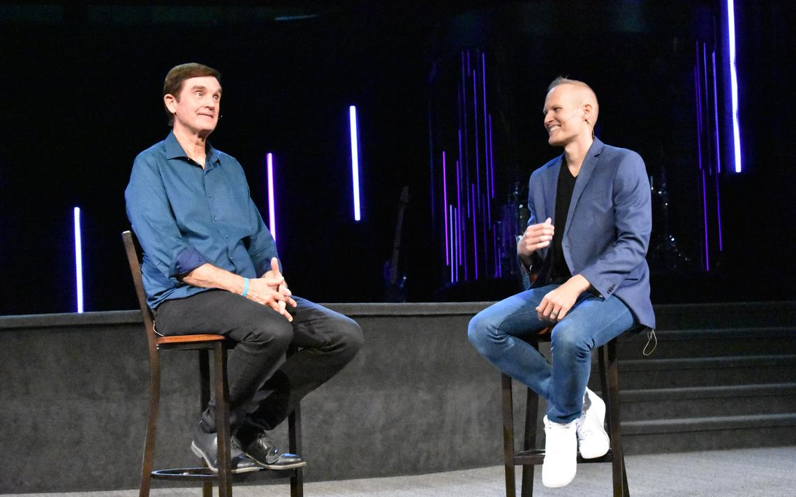 The Rev. Bob Ona (left) and David Leedahl as seen Aug. 29, 2021, during the pastor transition was formally announced to the congregation of Northview Church in Fargo. Special to The Forum