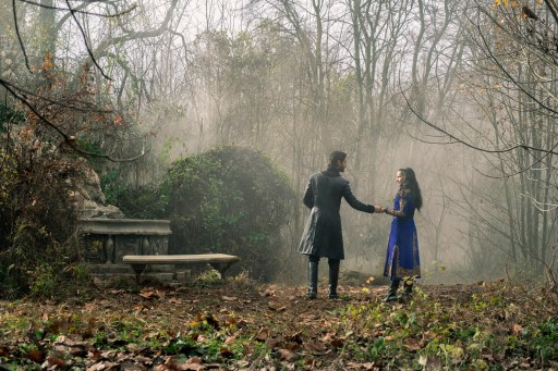 Ben Barnes as The Darkling and Jessie Mei Li as Alina Starkov in the Little Palace garden