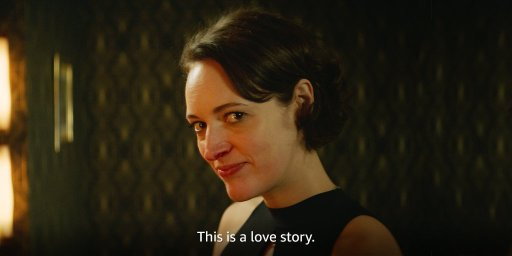 """Fleabag looks to the camera and says """"This is a love story"""" in Fleabag's first episode of the second season on Amazon Prime."""