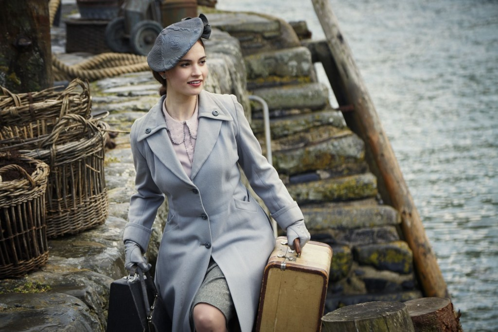 Lily James as Juliet Ashton in Netflix's The Guernsey Literary and Potato Peel Pie Society