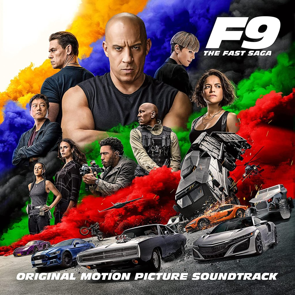 F9: The Fast Saga original motion picture soundtrack cover featuring a poster similar to the film.