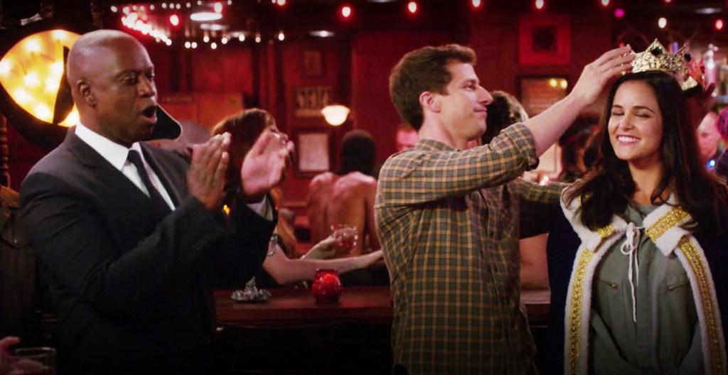 "Captain Raymond Holt, Jake Peralta, and Amy Santiago in Brooklyn Nine-Nine's episode 3x05 ""Halloween III"""