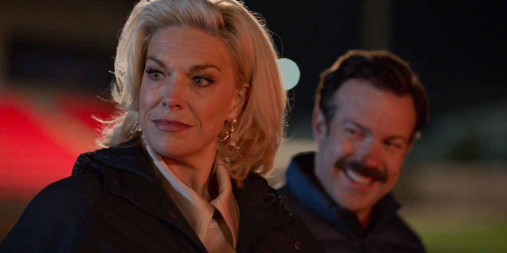 """Hannah Waddingham and Jason Sudeikis in """"Ted Lasso,"""" """"Two Aces"""" now streaming on Apple TV+."""