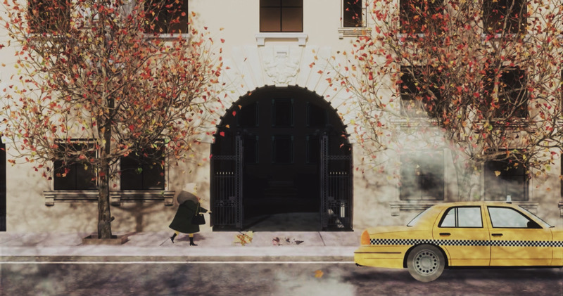 Screenshot of Hulu's Only Murders in the Building showcasing autumn through the title card.