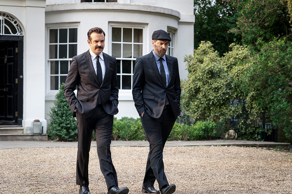 """Jason Sudeikis and Brendan Hunt in """"Ted Lasso"""" season two, episode 10, """"No Weddings and a Funeral"""" now streaming on Apple TV+."""