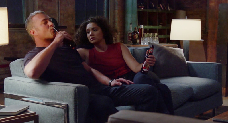 """Stella Kidd and Kelly Severide in Chicago Fire's """"Mayday"""" available now on NBC."""