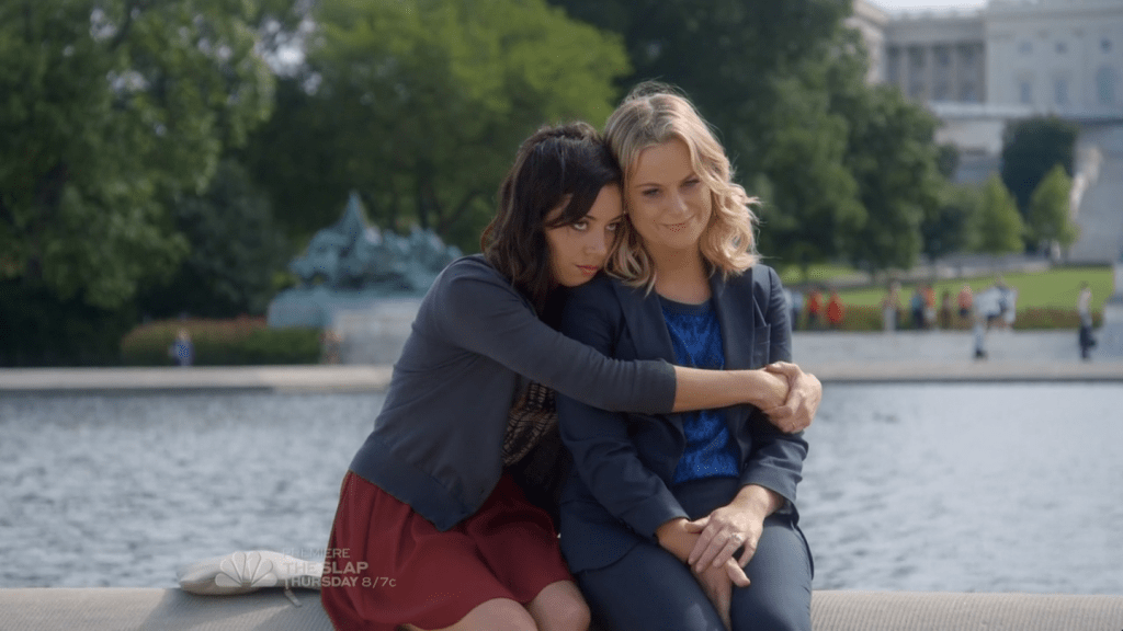 """April Ludgate and Leslie Knope in Parks and Recreation """"Ms. Ludgate-Dwyer Goes to Washington"""""""