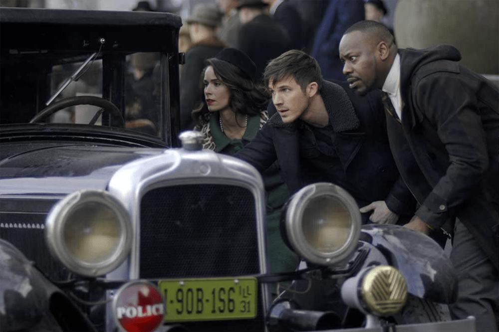 """Lucy Preston, Wyatt Logan, and Rufus Carlin in Timeless """"Public Enemy No. 1"""""""