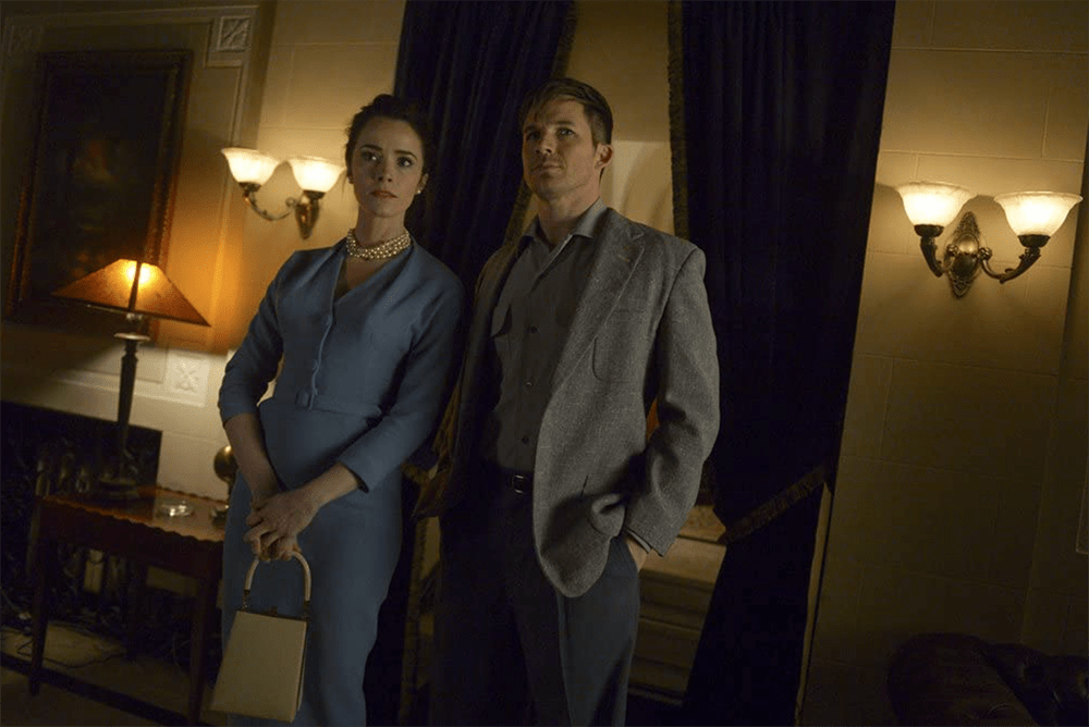 """Lucy Preston and Wyatt Logan in Timeless """"The Red Scare"""""""