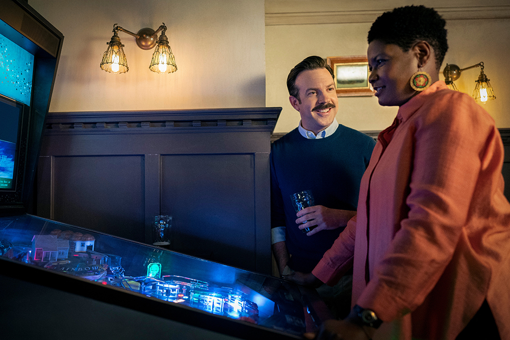 """Jason Sudeikis and Sarah Niles in """"Ted Lasso"""" season two, now streaming on Apple TV+."""