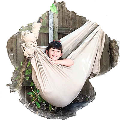 kindergarten girl in hammock