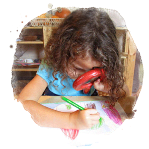 child drawing with magnifying glass