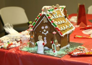 a decorated gingerbread house