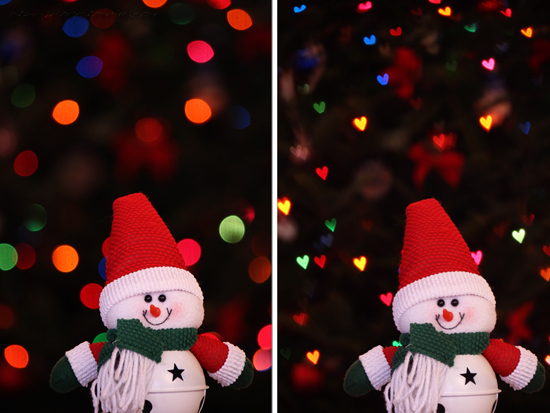 Snowman Bokeh Before and After