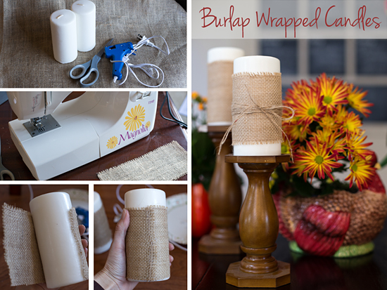 Burlap Wrapped Candles