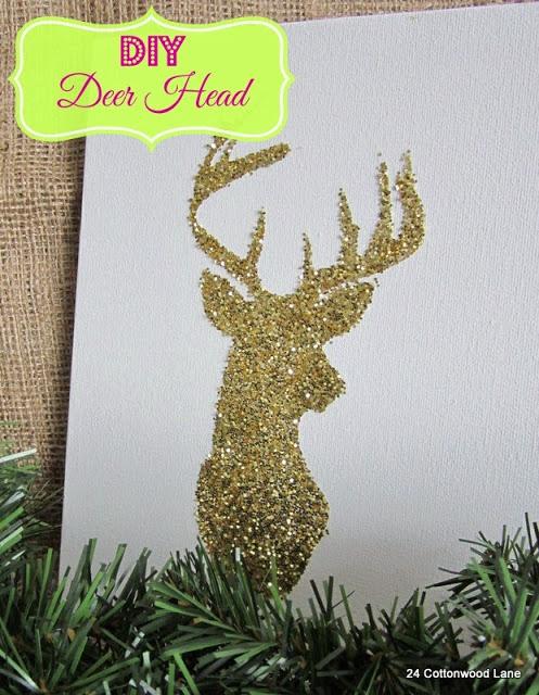 DIY Glittery Deer Canvas