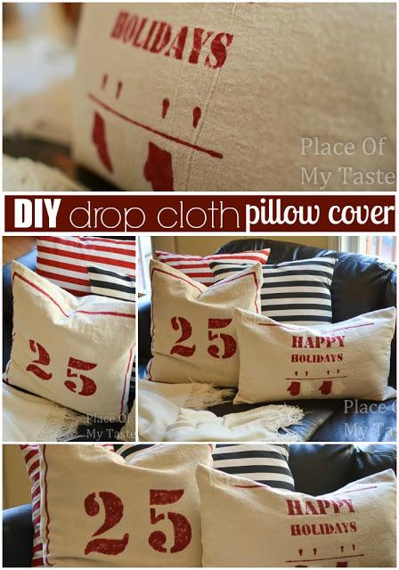 DIY drop cloth pillow case