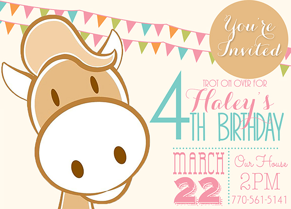Birthday Pony Horse Invite