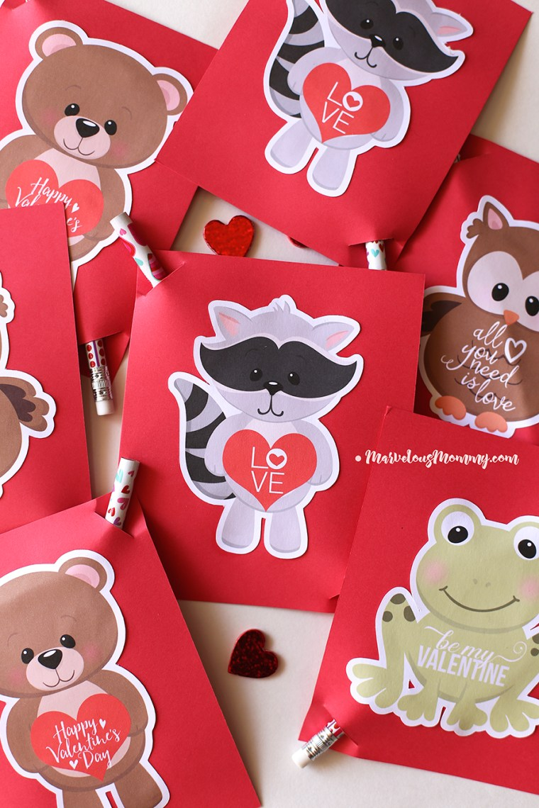 Cute Animal Valentines - Free Printable