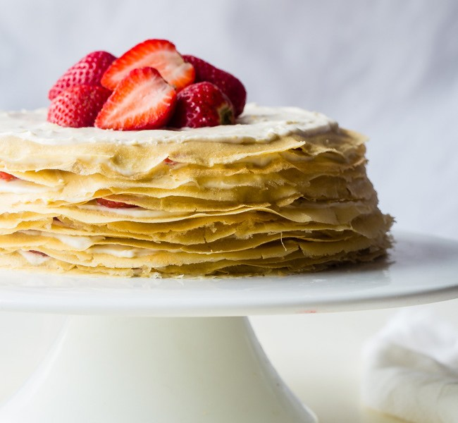 Paleo Crepes Cake with Strawberries