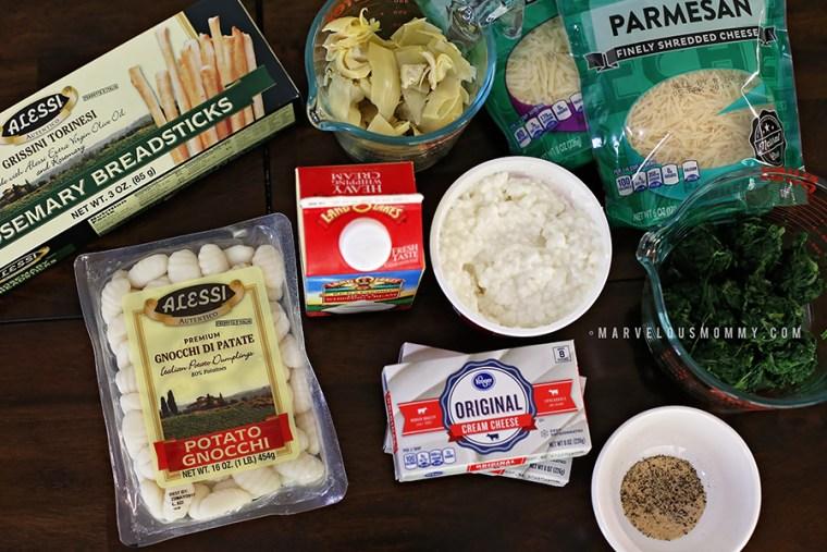 Creamy Spinach and Artichoke Gnocchi Ingre