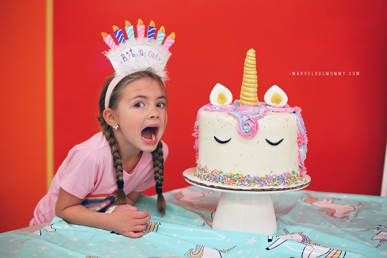 DIY Rainbow Unicorn Cake Haleys 6th Birthday Party Marvelous Mommy