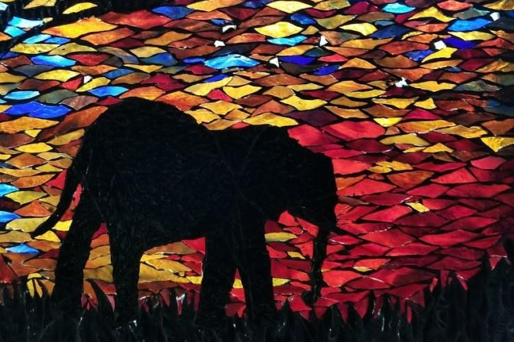 silhouette mosaic, elephant