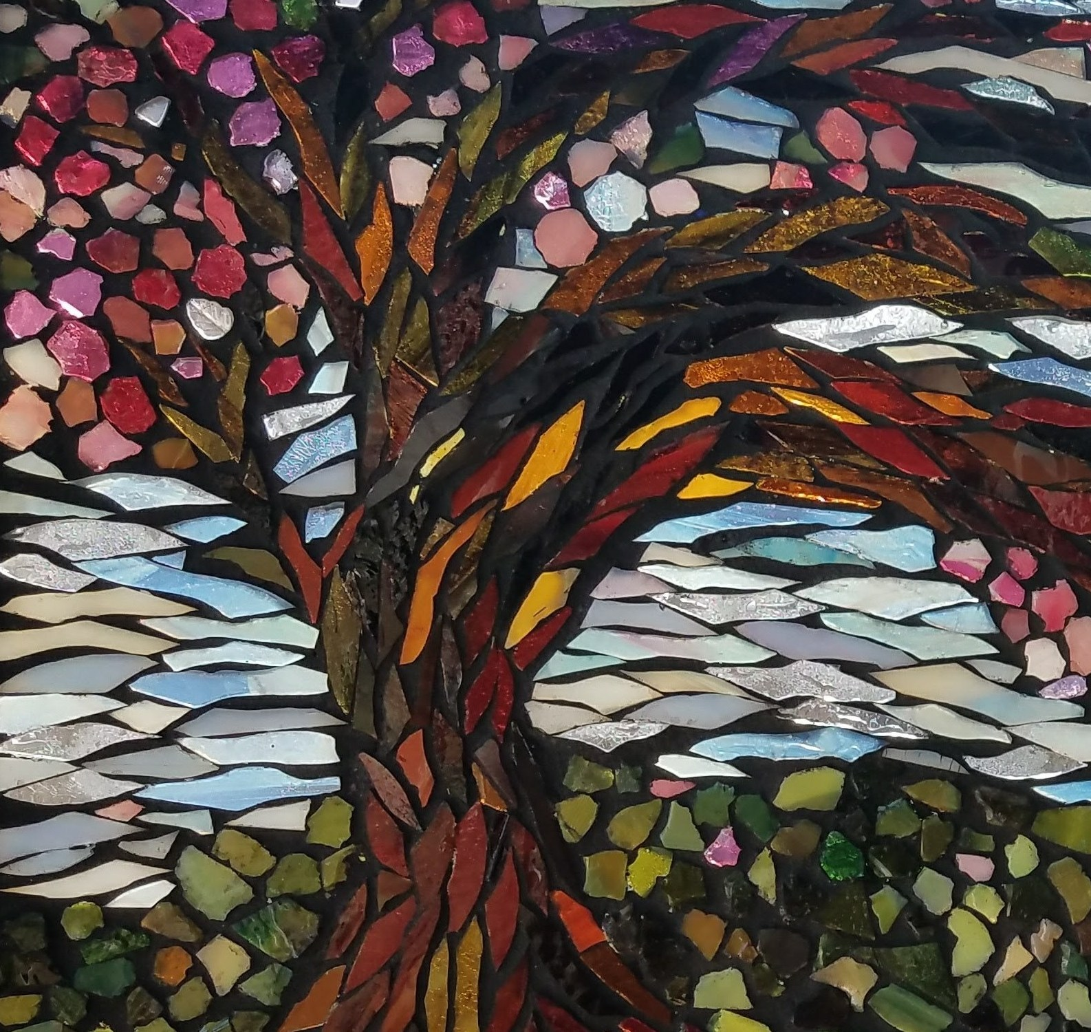 Windy Blossom Mosaic by Kory Dollar of Marvelous Mosaic Fine Art