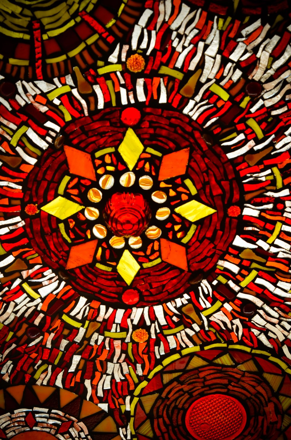 Mandala Glass on Glass Mosaic