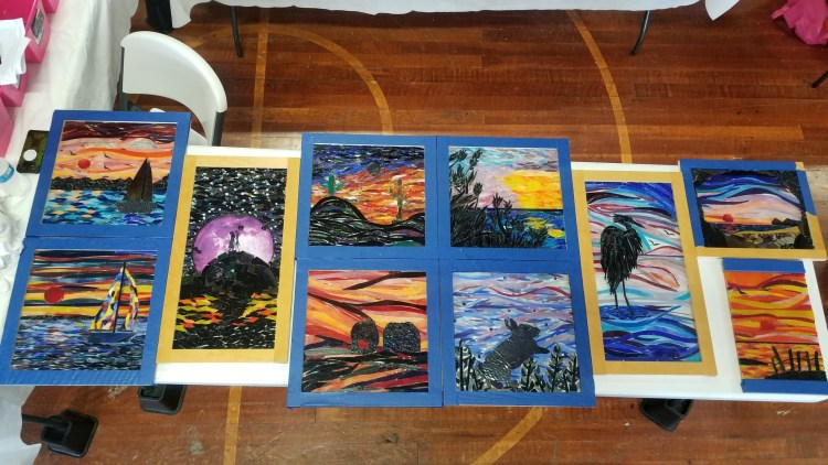 Students projects from Sunsets and Silhouettes retreat with Kory Dollar of Marvelous Mosaic Fine Art