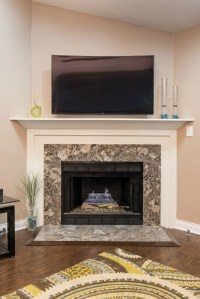 custom fireplace mantel_white and stone