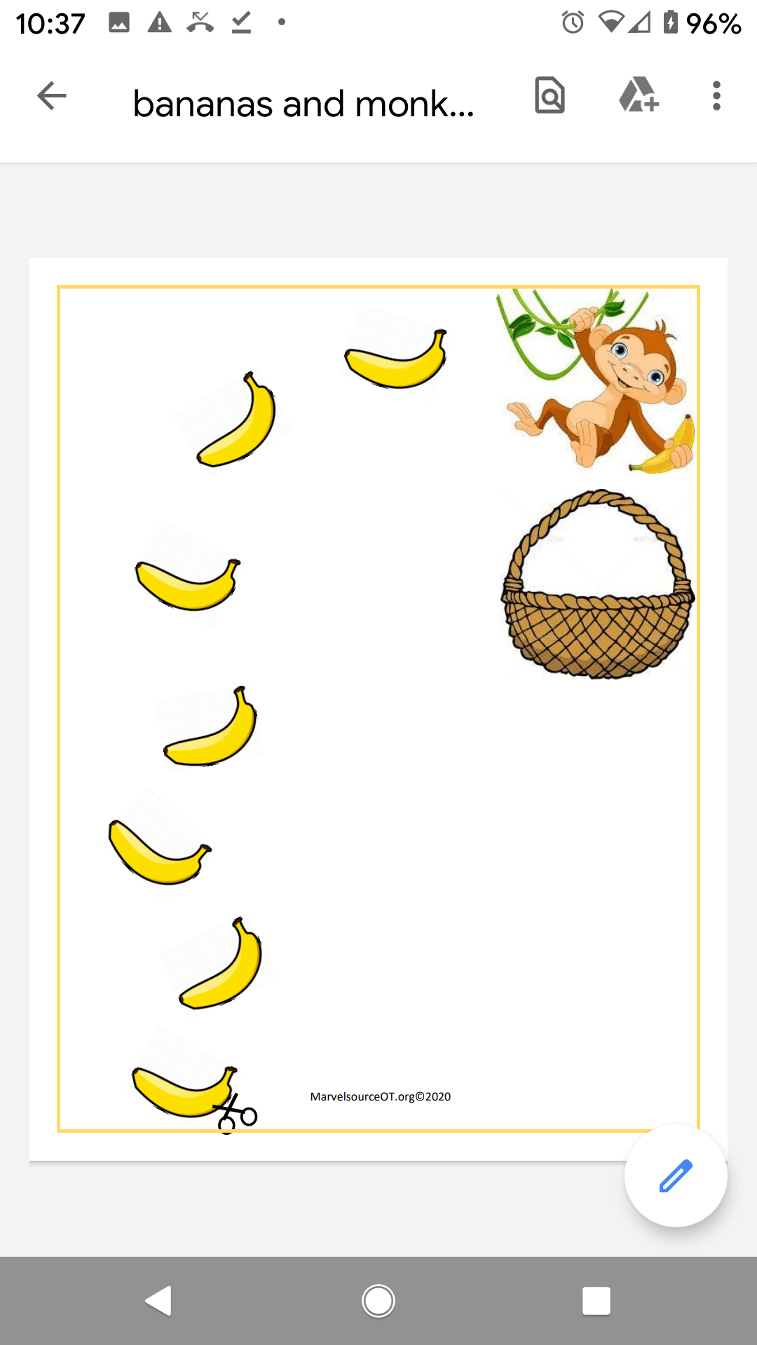 Marvelsourceot New Worksheet Trace And Cut The Bananas