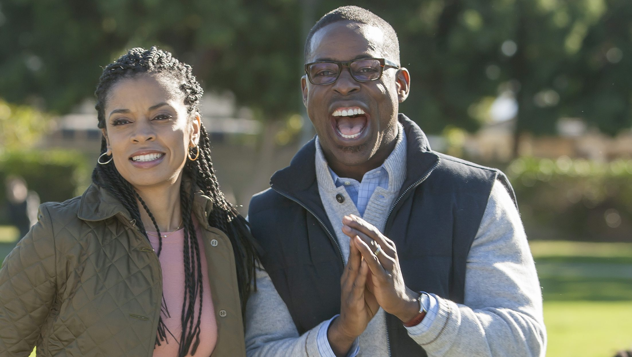 THIS IS US -- Pilot -- Pictured: (l-r) Susan Kelechi Watson as Beth, Sterling K. Brown as Randall -- (Photo by: Ron Batzdorff/NBC)