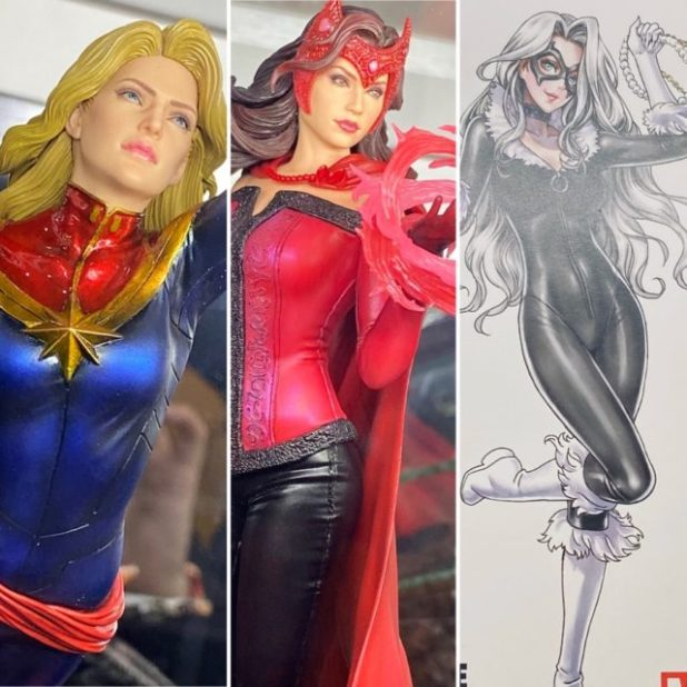 Toy Fair 2020 Kotobukiya ARTFX Premier Captain Marvel Scarlet Witch Black Cat