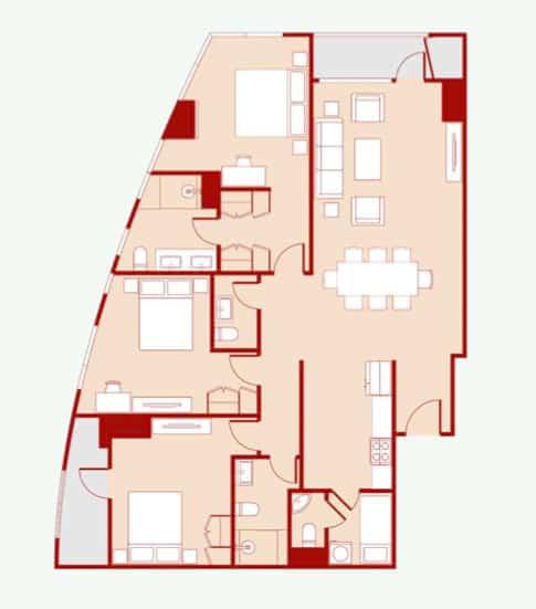 3 Bedroom - Floor Layout - 146 sqm - IND