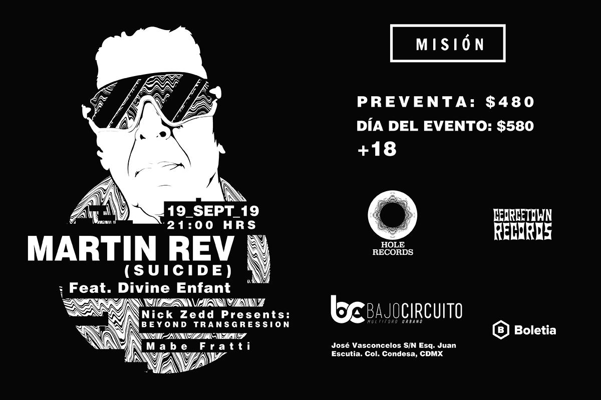 Martin Rev Suicide Bajo Circuito 19 septiembre concierto CDMX boletos