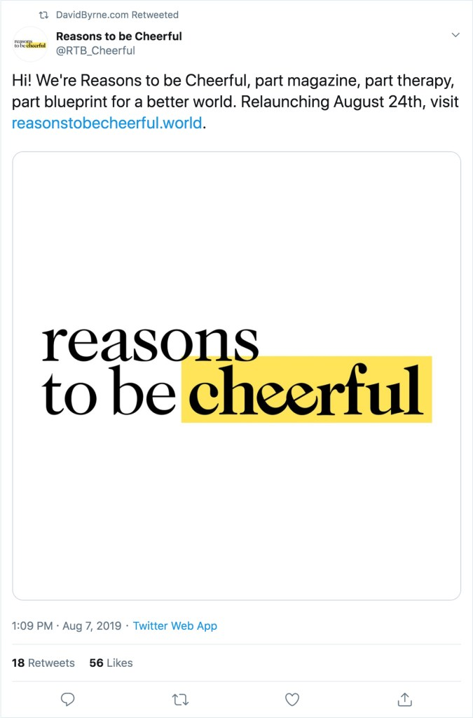 Reasons to be Cheerful Twitter