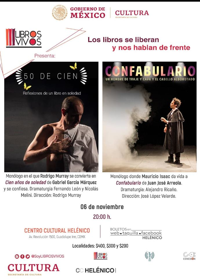 Libros Vivos: Cien Años de Soledad, Confabulario y La Cena platican contigo en el Centro Cultural Helénico