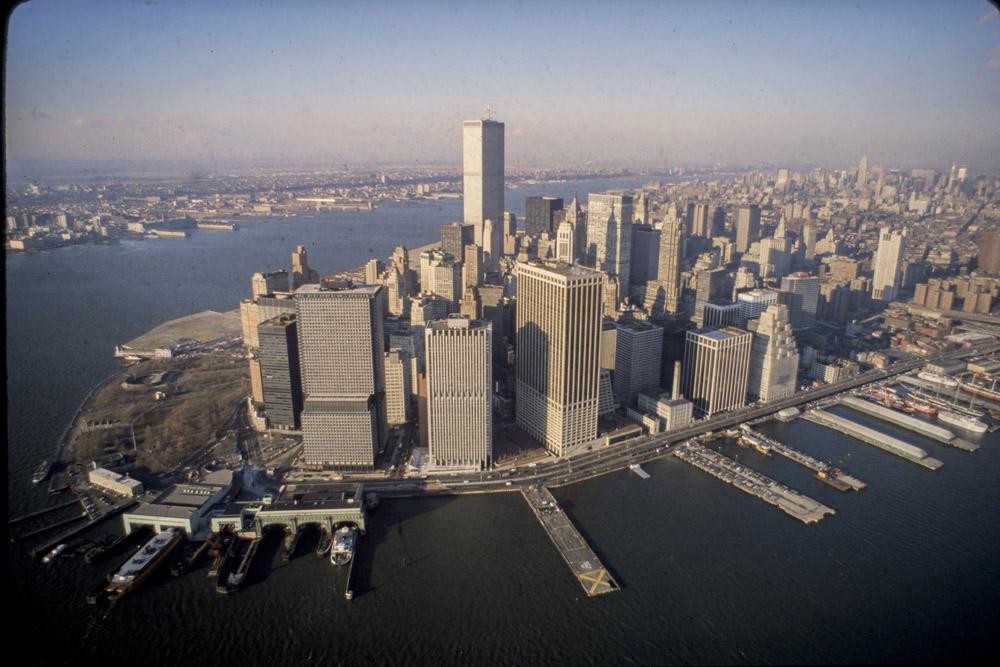 Downtown, Manhattan, East, River, Aerial, Battery Park, World Trade Center,