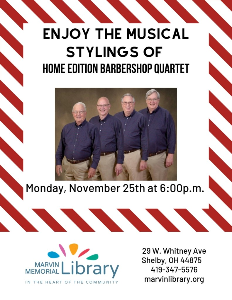 Home Edition Barbershop Quartet @ Marvin Memorial Library