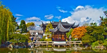 The Chinese Gardens in Portland Oregon on a sunny day in May