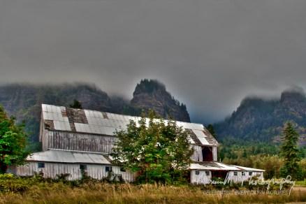 White Barn in Columbia River Gorge east of Multnohma Falls