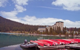 Looking back to the Fairmont Chateau across Lake Louis...