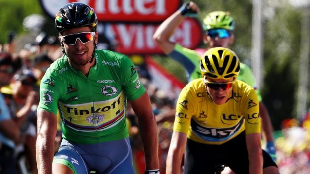 Chris Froome nearly beats Peter Sagan in a sprint..WTF??? :-)