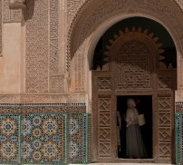 At the Medersa Ben Youssef, the black of the door broken by a local tourist.