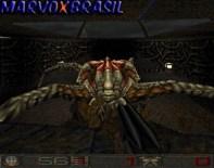 No final encontramos a raíz de todo o problema. Como se não bastasse a comparação com Quake, o último chefe também é parecido. Aqui temos que entrar dentro deste bichão cheio de tentáculos e que solta um grito irritante.
