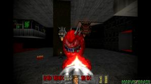 O Pain Elemental (fundo), consegue expelir Lost Souls do interior da boca e quando explode ao ser eliminado, também podem espalhar mais Lost Souls.