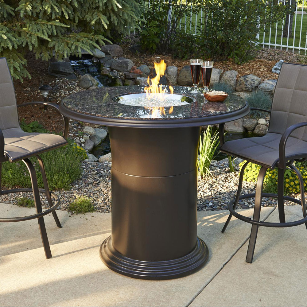 Grand Colonial 48 Inch Round Dining Height Gas Fire Pit Table With Crystal Fire Burner Marx
