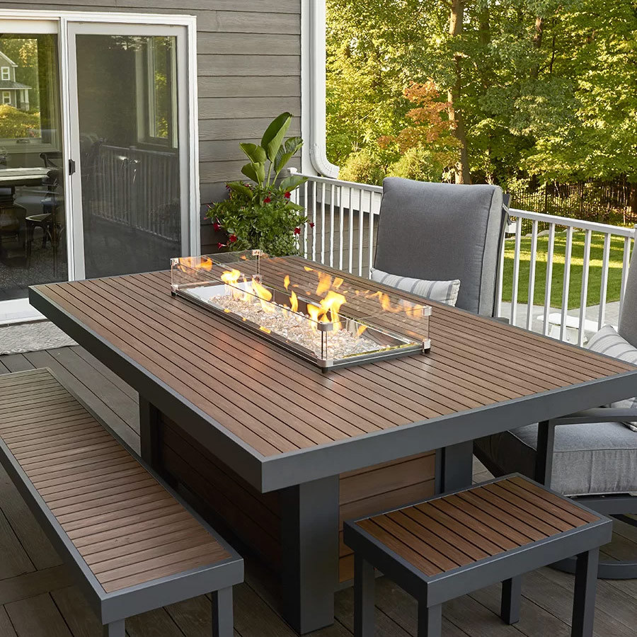 Kenwood 80-Inch Linear Dining-Height Gas Fire Pit Table ... on Outdoor Dining Tables With Fire Pit id=93338